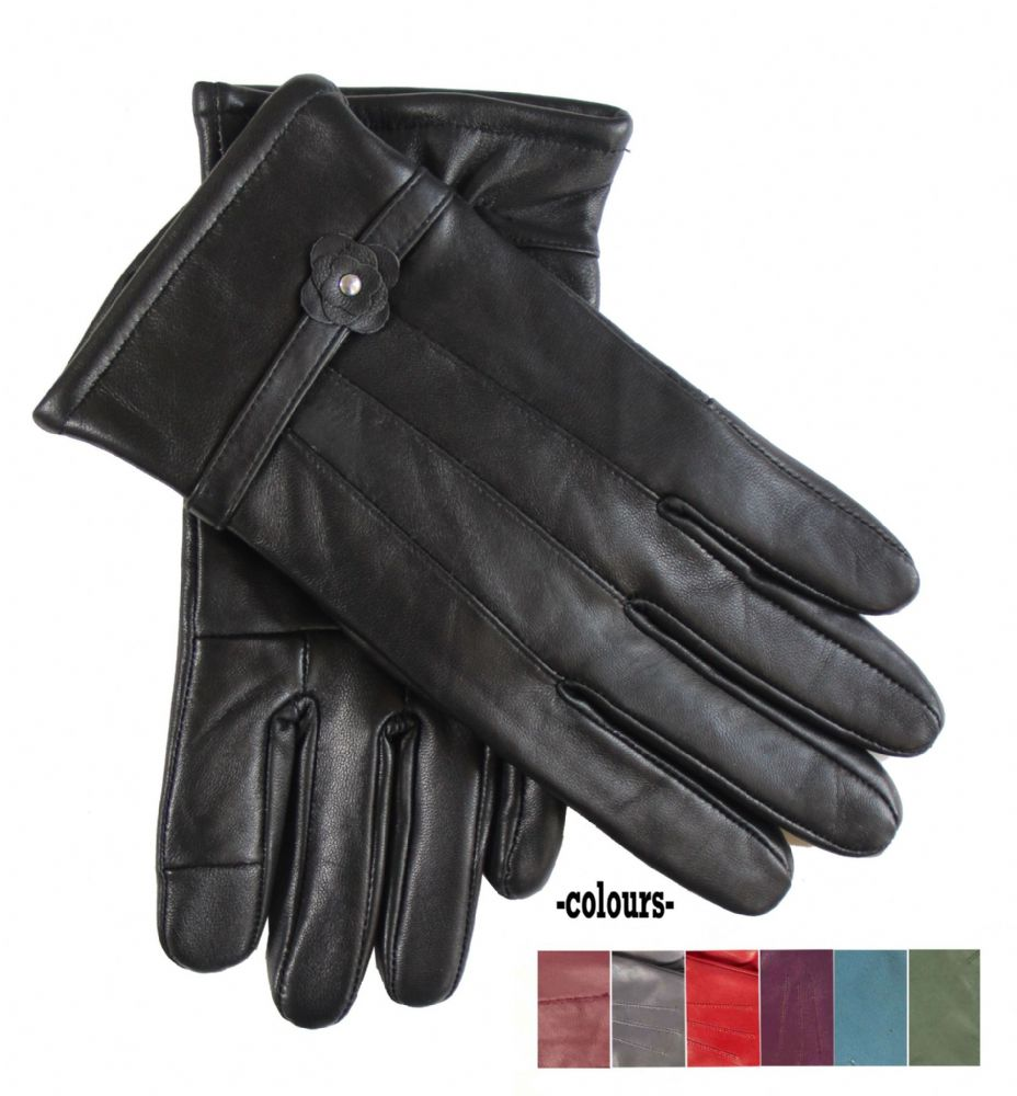 Ladies assorted colour dress winter genuine leather gloves